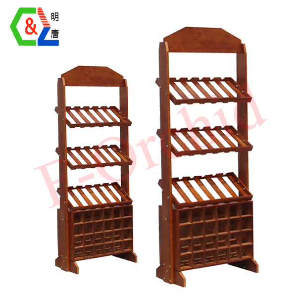 Stand Wood Wine Display Rack